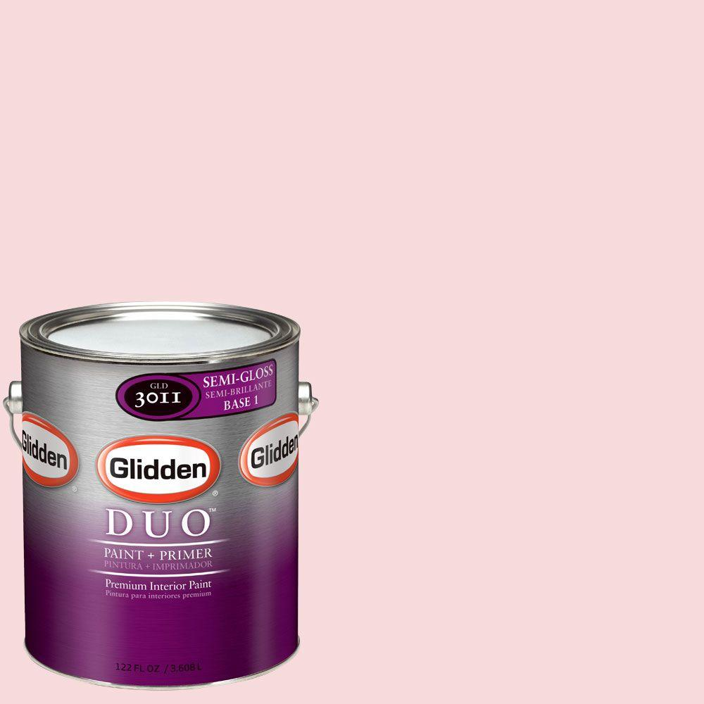 Glidden DUO 1-gal. #GLR18-01F Powder Pink Semi-Gloss Interior Paint with Primer