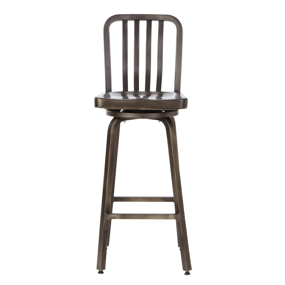 Home decorators collection sandra in gunmetal swivel bar stool 2478710660 the home depot Home depot wood bar stools