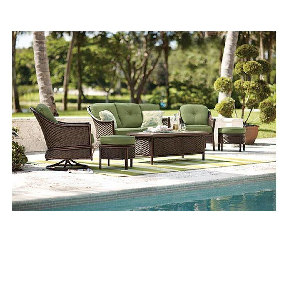 Home Decorators Collection Lanai Espresso 6-Piece Patio Chat Set with Green Cushions-DISCONTINUED