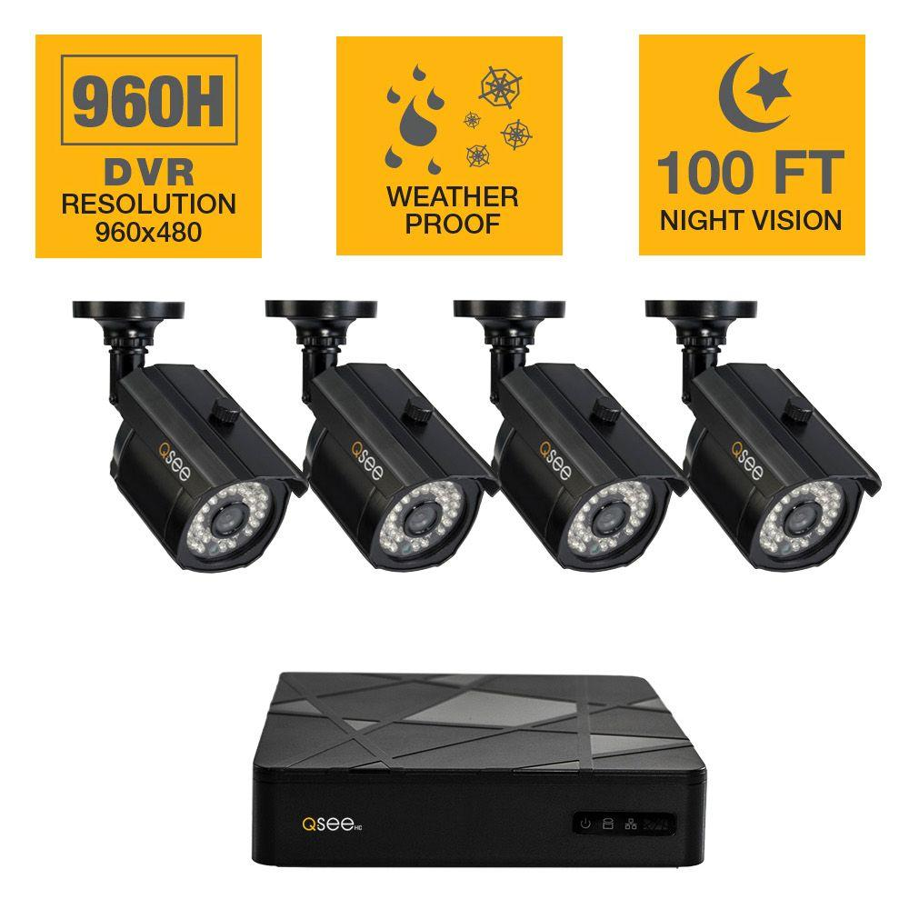 Q-SEE 4-Channel 960H 500GB Surveillance System with (4) 1,000TVL Cameras and