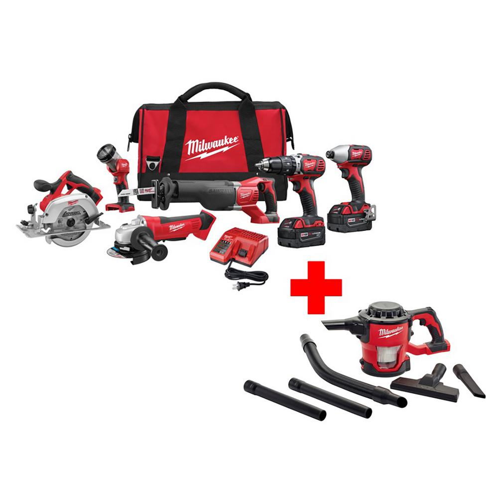 M18 18-Volt Lithium-Ion Cordless Combo Kit (6-Tool) with Free M18 Compact