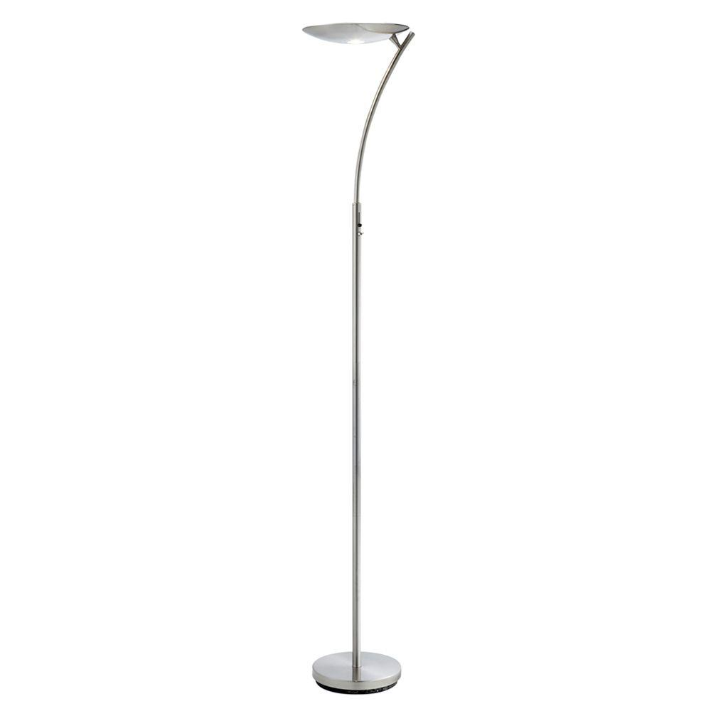Adesso Aurora 72 in. H Satin Steel LED Torchiere-DISCONTINUED