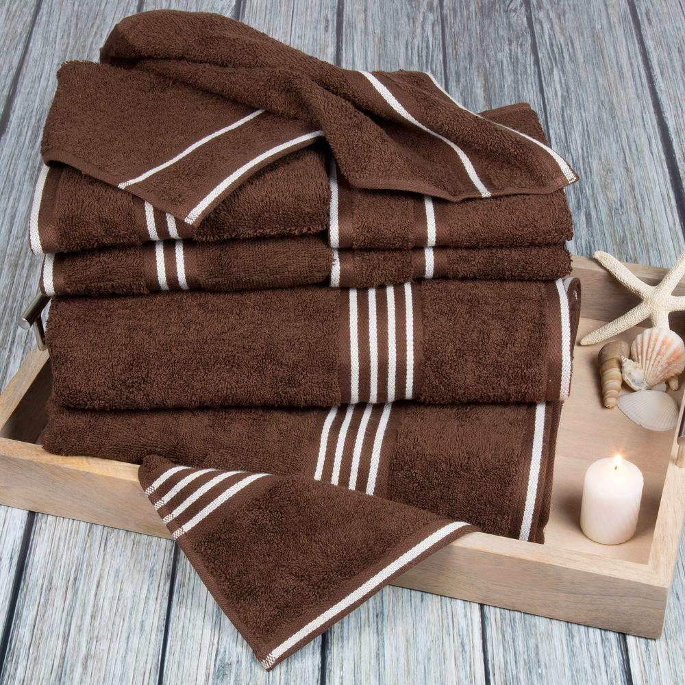 Rio Egyptian Cotton Towel Set in Chocolate (8-Piece)