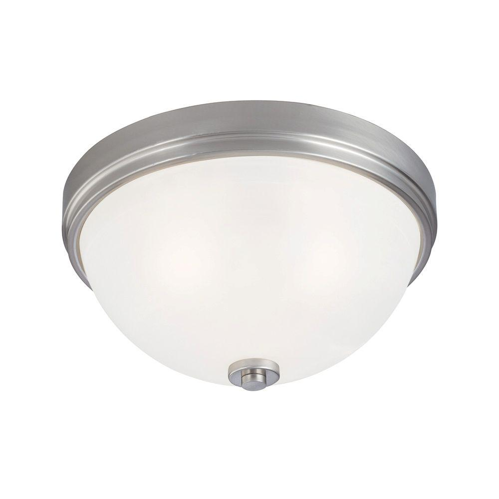 Westinghouse 3 light ceiling fixture brushed nickel for Flush mount white ceiling light