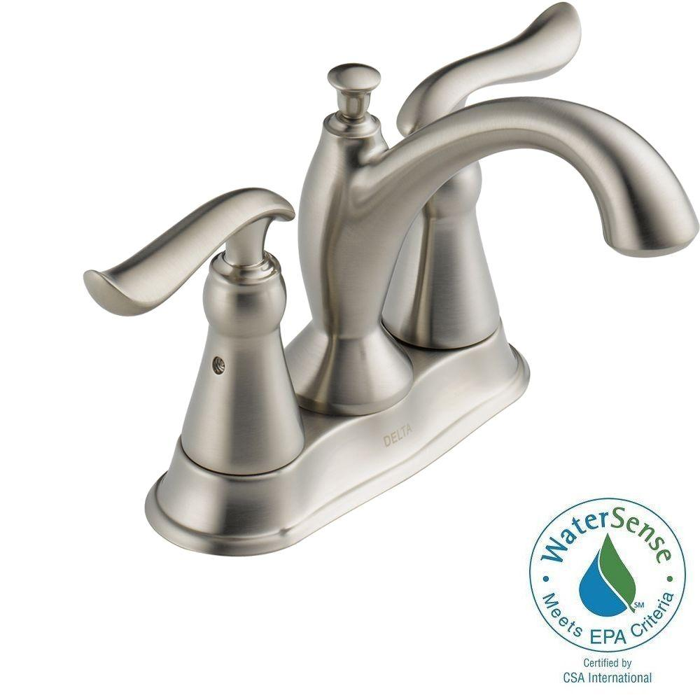 Delta Linden 4 in. Centerset 2-Handle High-Arc Bathroom Faucet in Stainless