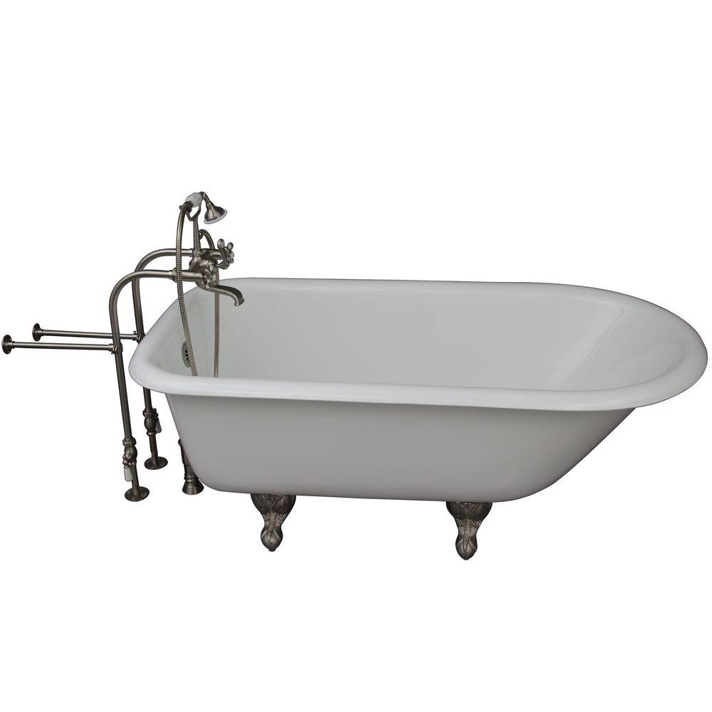 Barclay Products 5.6 ft. Cast Iron Ball and Claw Feet Roll Top Tub in White with Brushed Nickel Accessories
