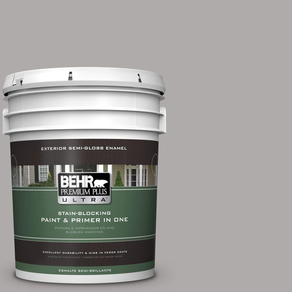 BEHR Premium Plus Ultra 5-gal. #PPU18-14 Cathedral Gray Semi-Gloss Enamel Exterior Paint