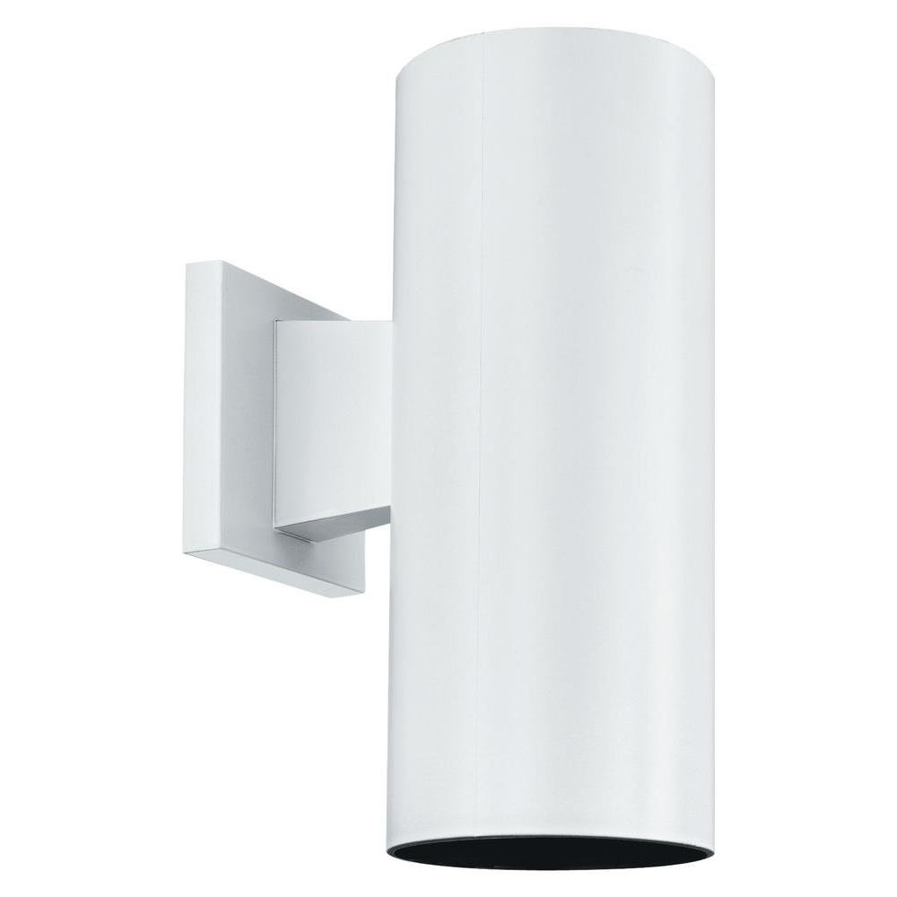 Thomas Lighting 1-Light Matte White Outdoor Wall Mount Cylinder