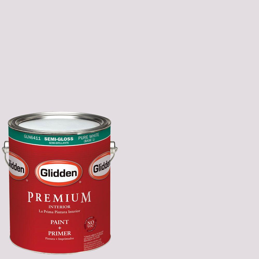 Glidden Premium 1 gal. #HDGV56D Barely Lilac Semi-Gloss Interior Paint with