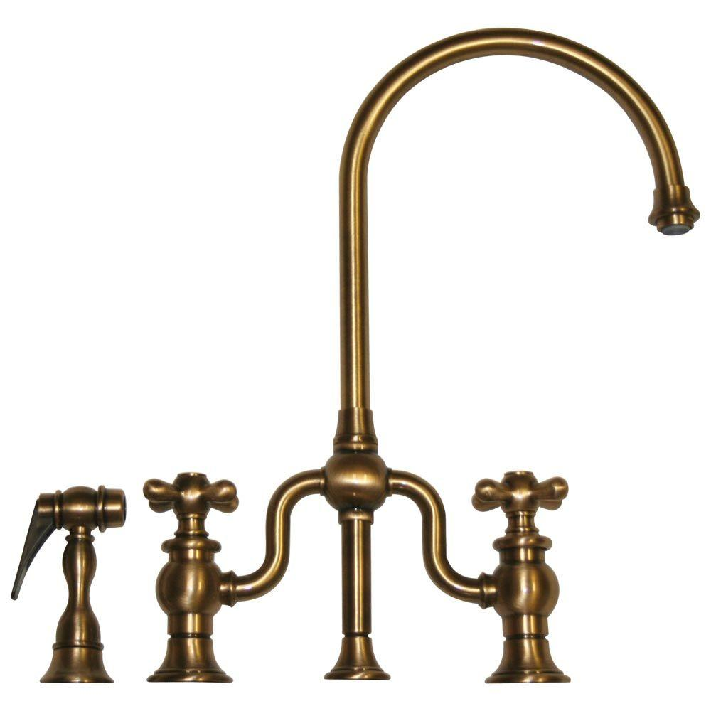 Whitehaus Collection Twisthaus 2-Handle Bridge Kitchen Faucet with Side Spray in Antique Brass