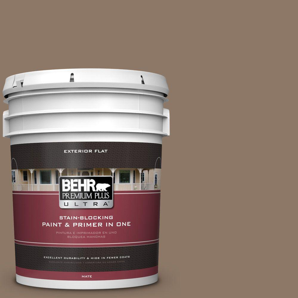 BEHR Premium Plus Ultra 5-gal. #PPU5-5 Coconut Shell Flat Exterior Paint