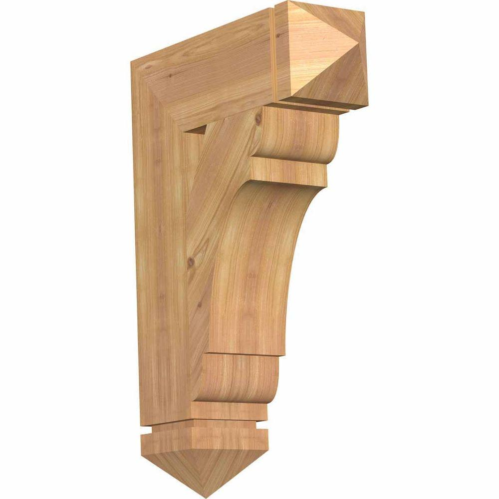 Ekena Millwork 5.5 in. x 28 in. x 20 in. Western Red Cedar Olympic Arts and Crafts Smooth Bracket