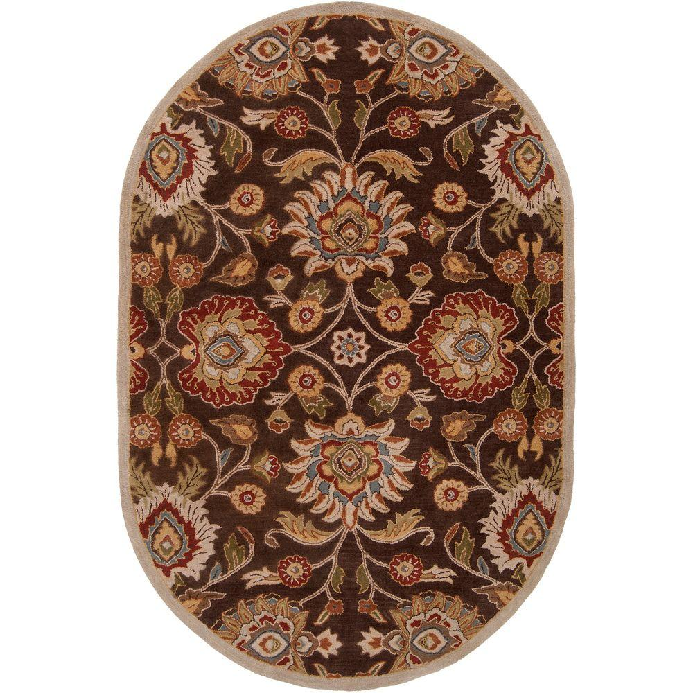 Artes Chocolate 6 ft. x 9 ft. Oval Area Rug