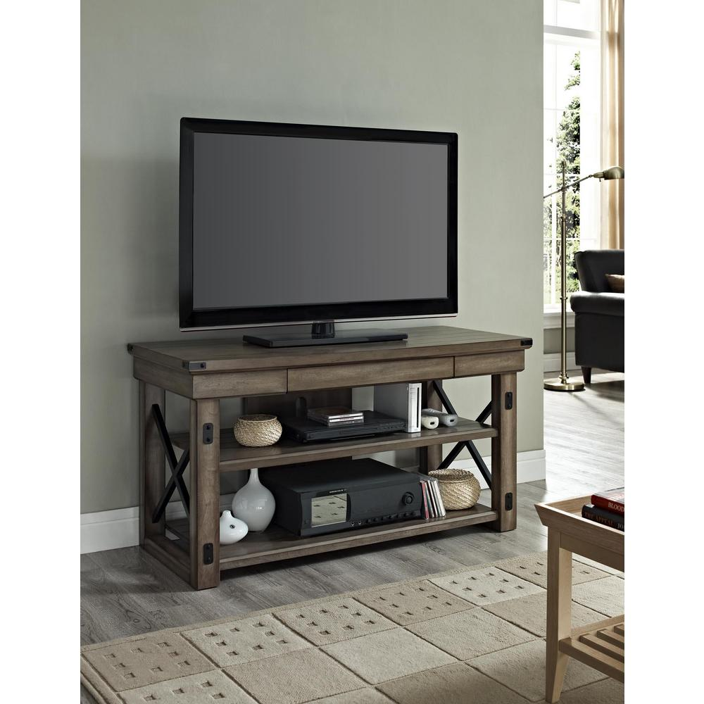 Wildwood Rustic Gray Oak Storage Entertainment Center