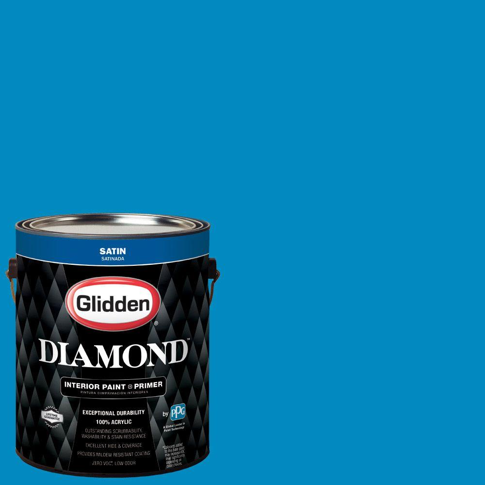 1 gal. #HDGB53 Clipper Ship Blue Satin Interior Paint with Primer