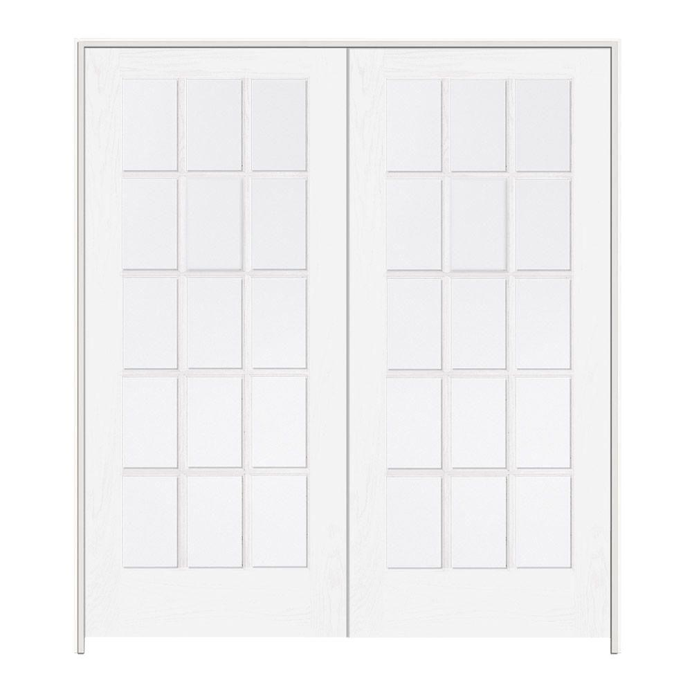 jeld wen 60 in x 80 in smooth 15 lite primed wood interior french door pine 48 quot prehung home center outlet