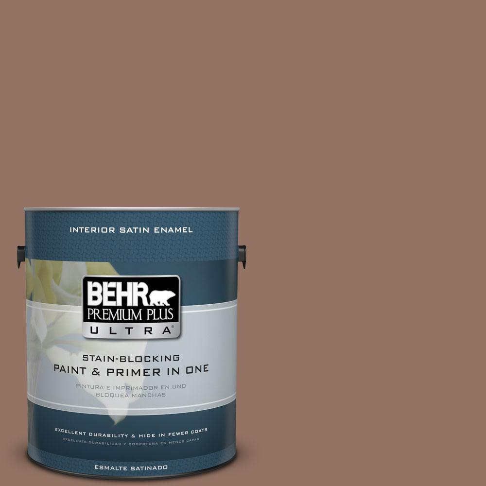BEHR Premium Plus Ultra 1-gal. #BXC-84 Corral Brown Satin Enamel Interior Paint