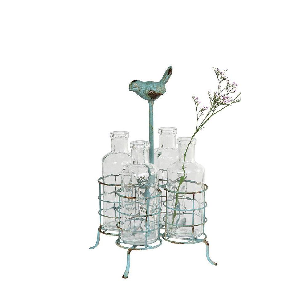 Perched Bird Glass and Metal Decorative Stand and Vases in Clear