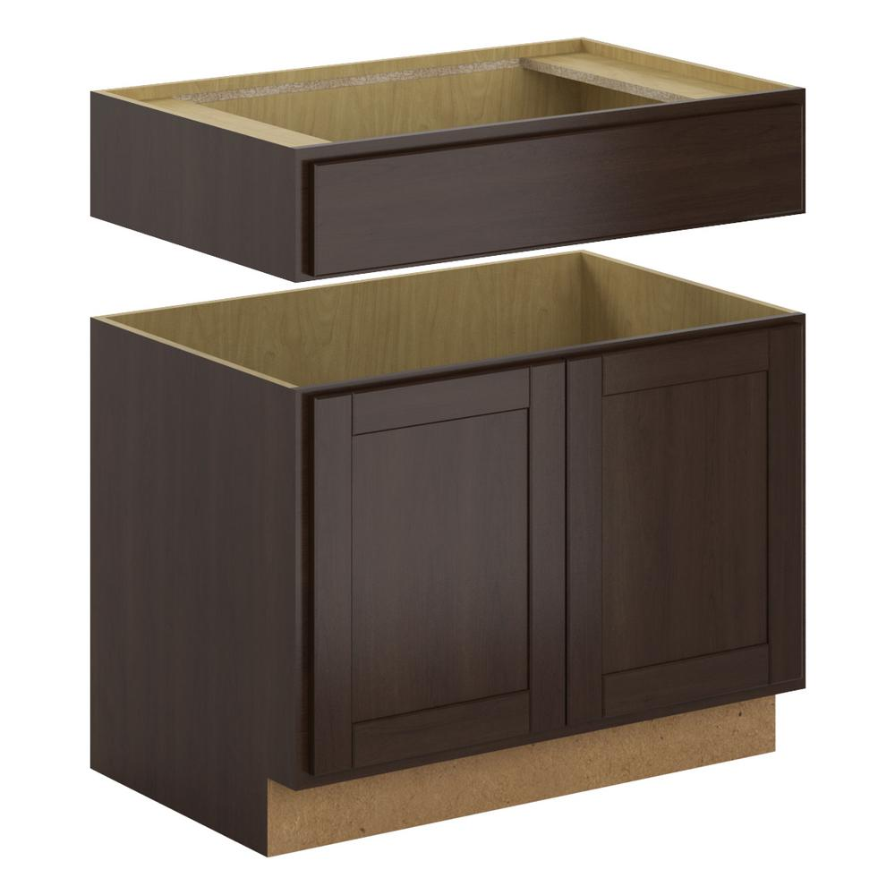 Princeton Shaker Assembled 36x34.5x24 in. Accessible Sink Base Cabinet in Java