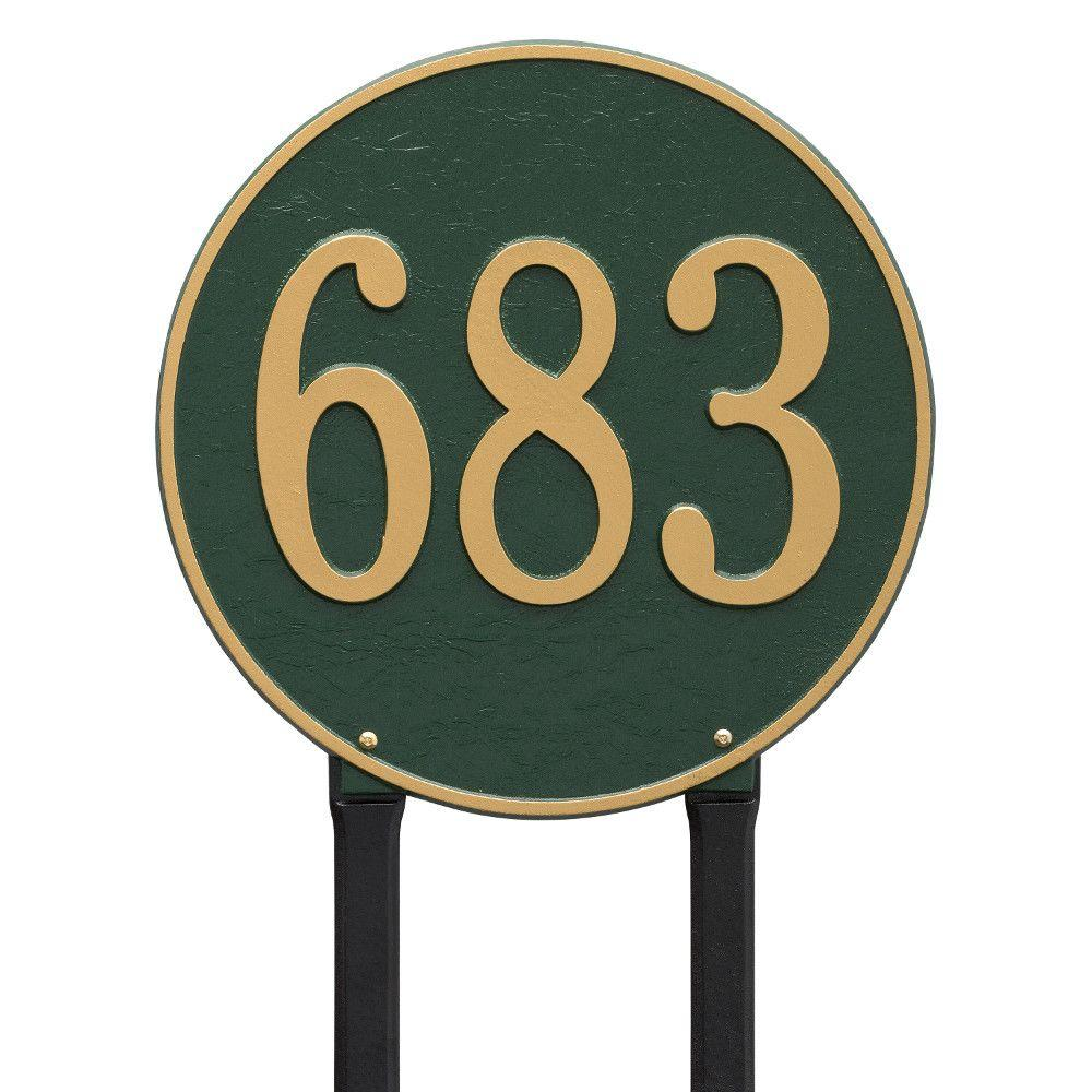 Whitehall Products Round Estate Green/Gold Lawn 1-Line Address Plaque