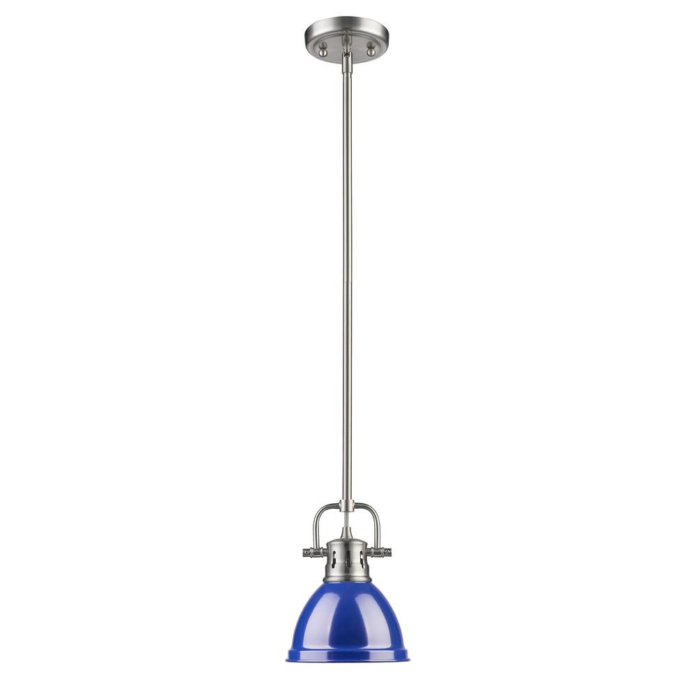 Duncan 1-Light Pewter Mini Pendant with Blue Shade