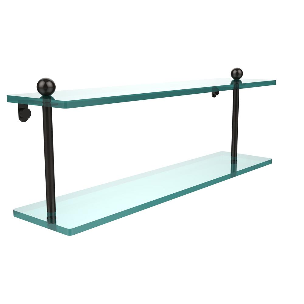 22 in. 2-Tier Glass Shelf in Oil Rubbed Bronze