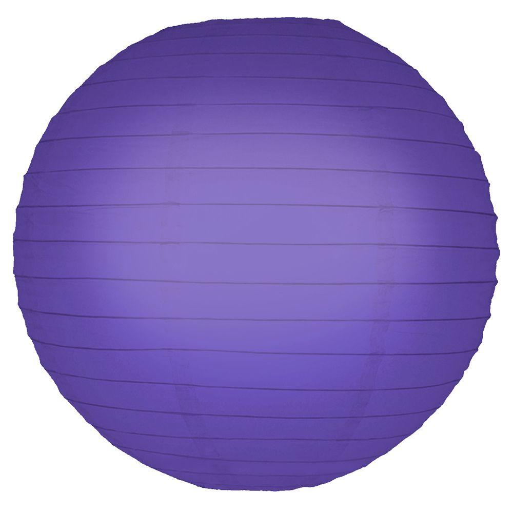 Lumabase 10 in. Round Purple Paper Lanterns (5-Count)