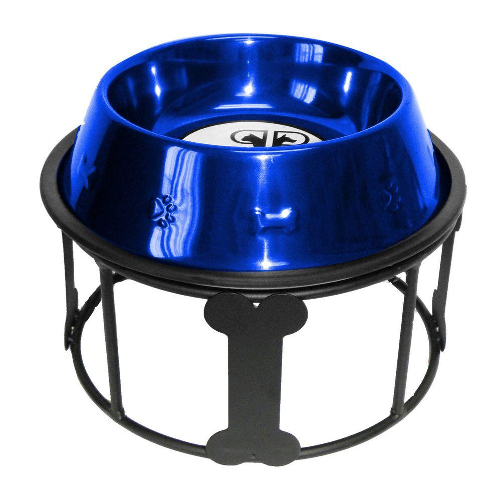 Platinum Pets 6.25 Cup Wrought Iron Bones and Stripes Single Feeder with Embossed Non-Tip Bowl in Blue