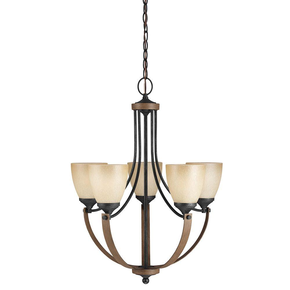 Sea Gull Lighting Corbeille 5-Light Stardust Chandelier with Creme Parchment Glass