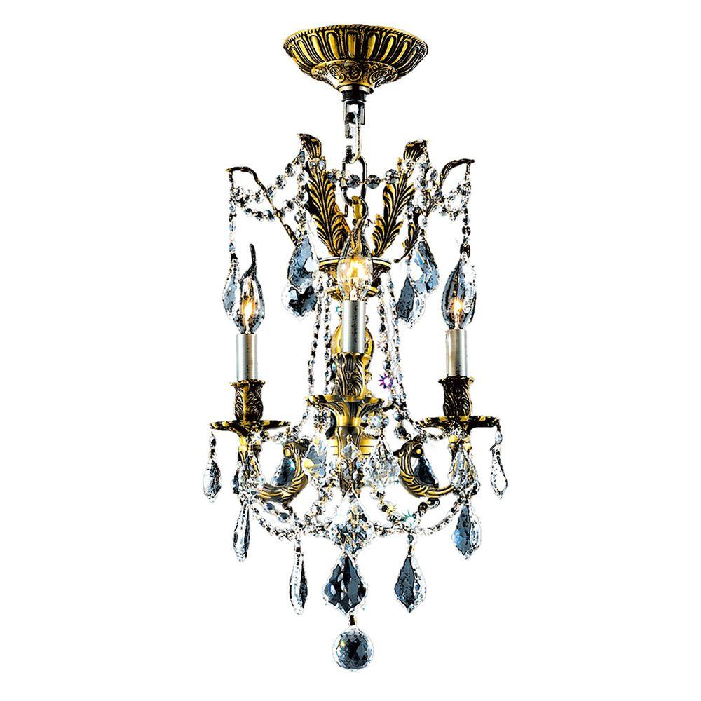 Worldwide Lighting Windsor 3-Light Antique Bronze Chandelier with Clear Crystal