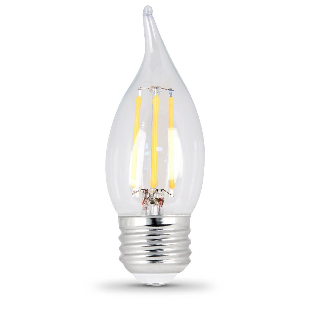 Feit Electric 60W Equivalent Soft White A15 Dimmable Clear Filament LED Medium Base Light Bulb ...