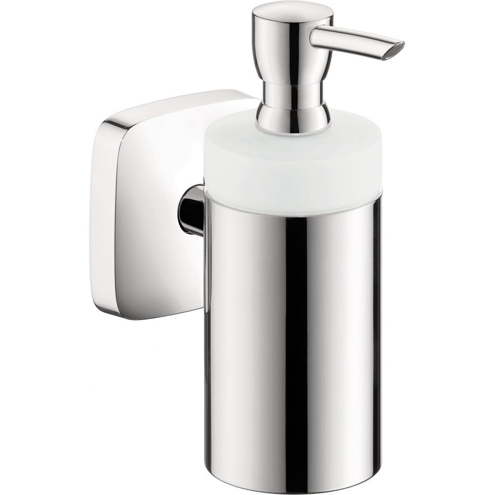 PuraVida Wall-Mount Brass and Ceramic Soap Dispenser in Chrome