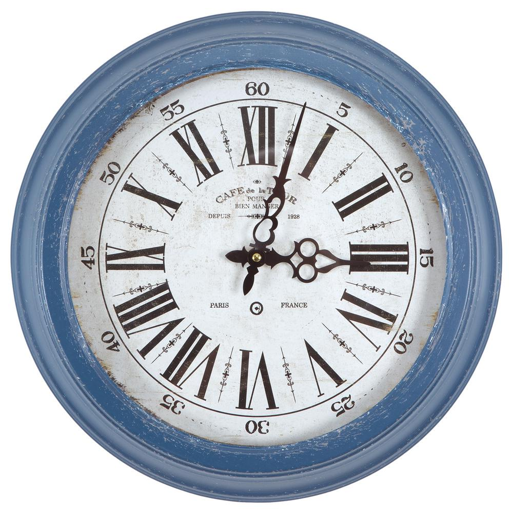 yosemite home decor 16 in circular iron wall clock in distressed blue frame clka7185me the home depot - Yosemite Home Decor