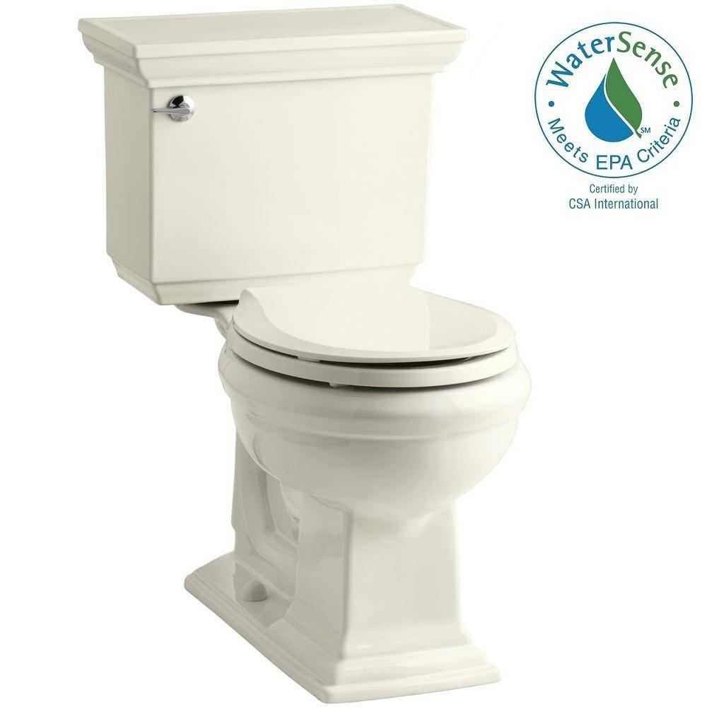 KOHLER Memoirs Stately 2-piece 1.28 GPF Round Toilet with AquaPiston Flushing Technology in Biscuit