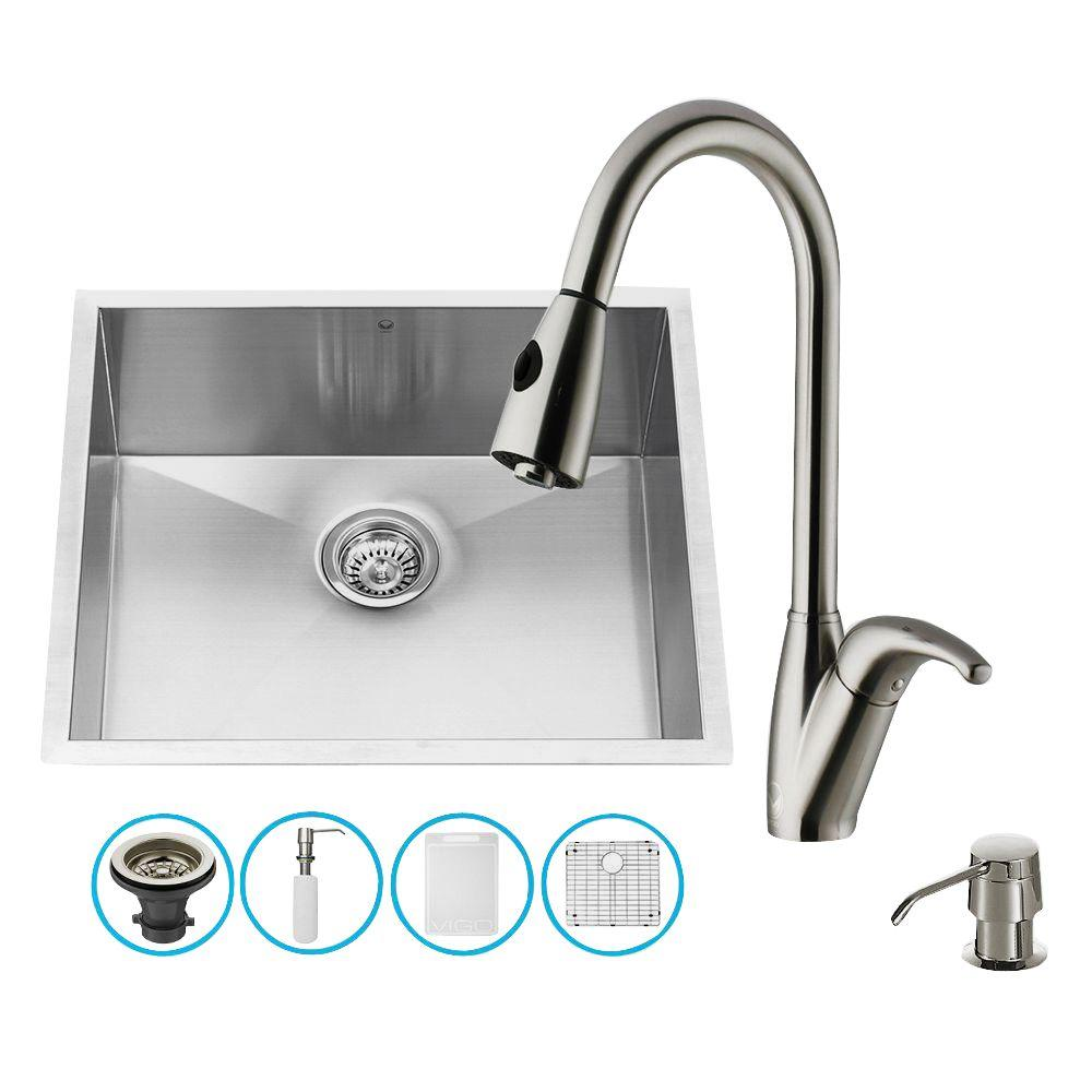 All-in-One Undermount Stainless Steel 23 in. Single Bowl Kitchen Sink in