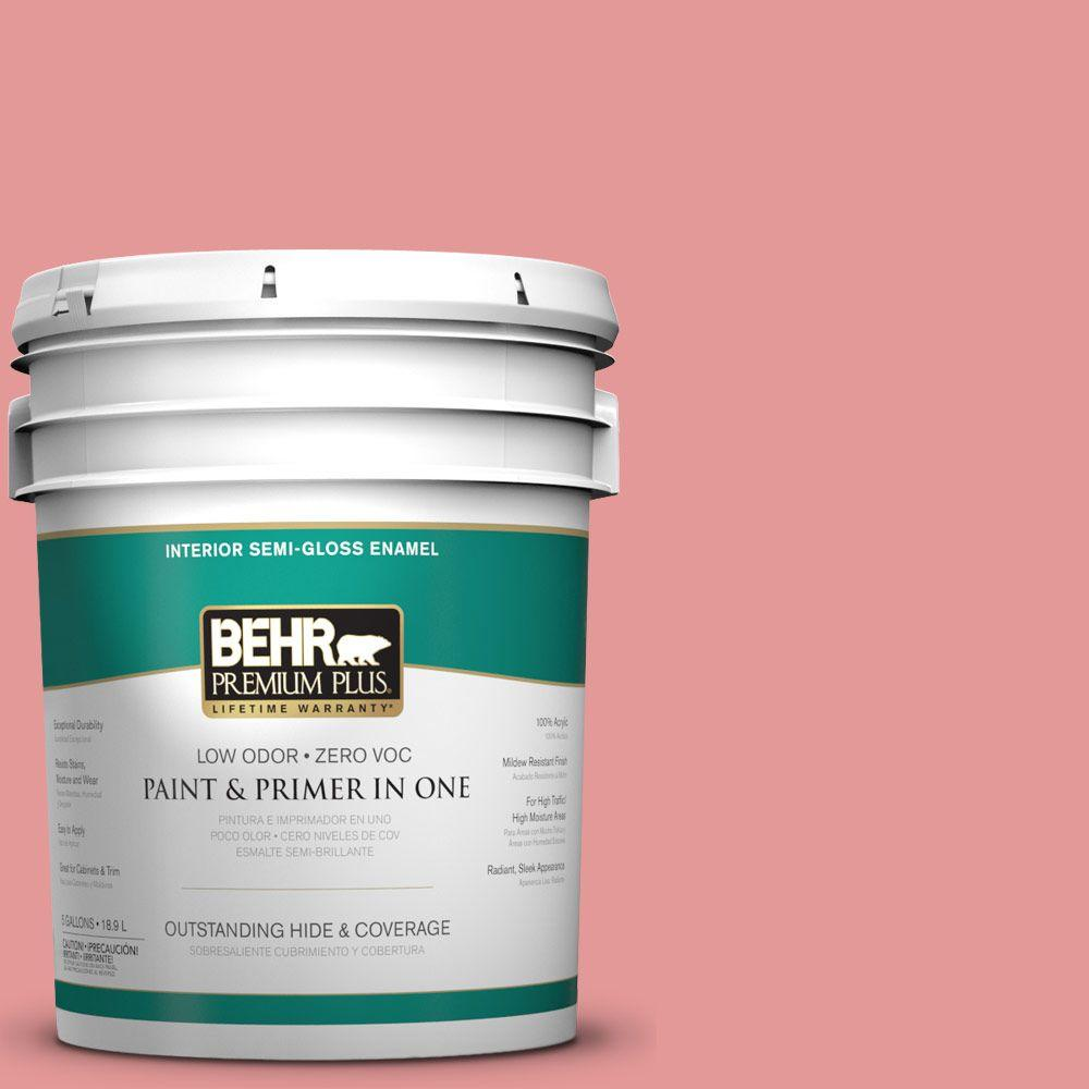 5-gal. #M160-4 She Loves Pink Semi-Gloss Enamel Interior Paint