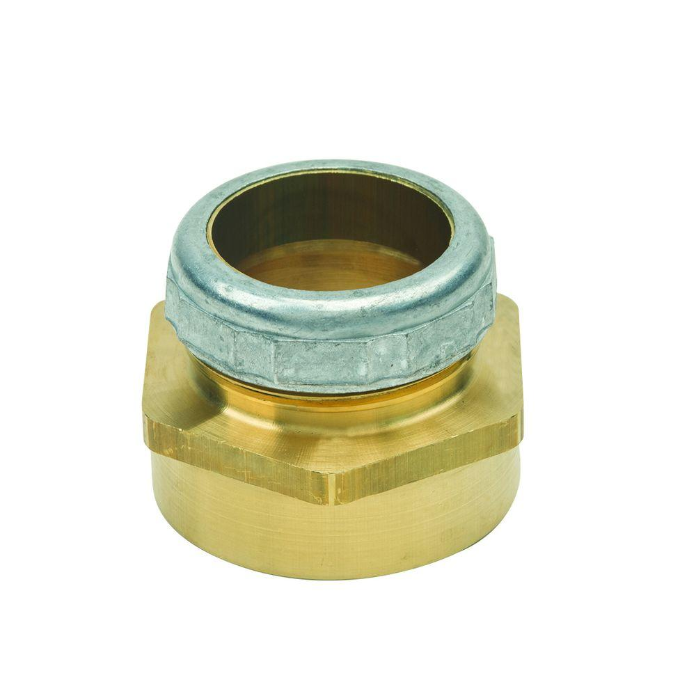 BrassCraft 1-1/4 in. O.D. Compression x 1-1/2 in. FIP Brass Waste Connector with Die Cast Nut in Rough Finish