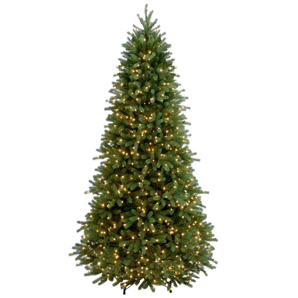 7-1/2 ft. Feel Real Jersey Fraser Slim Fir Hinged Artificial Christmas Tree with 800 Clear Lights, Greens