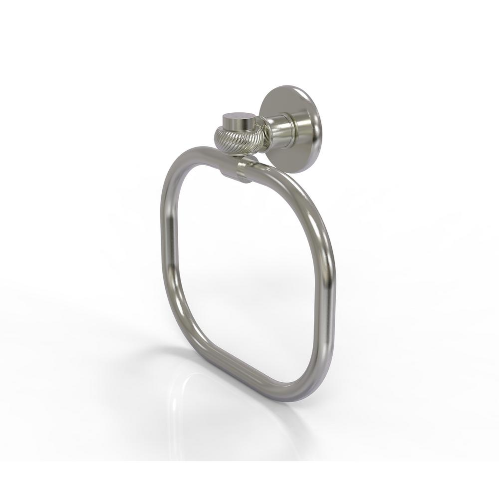 Continental Collection Towel Ring with Twist Accents in Satin Nickel