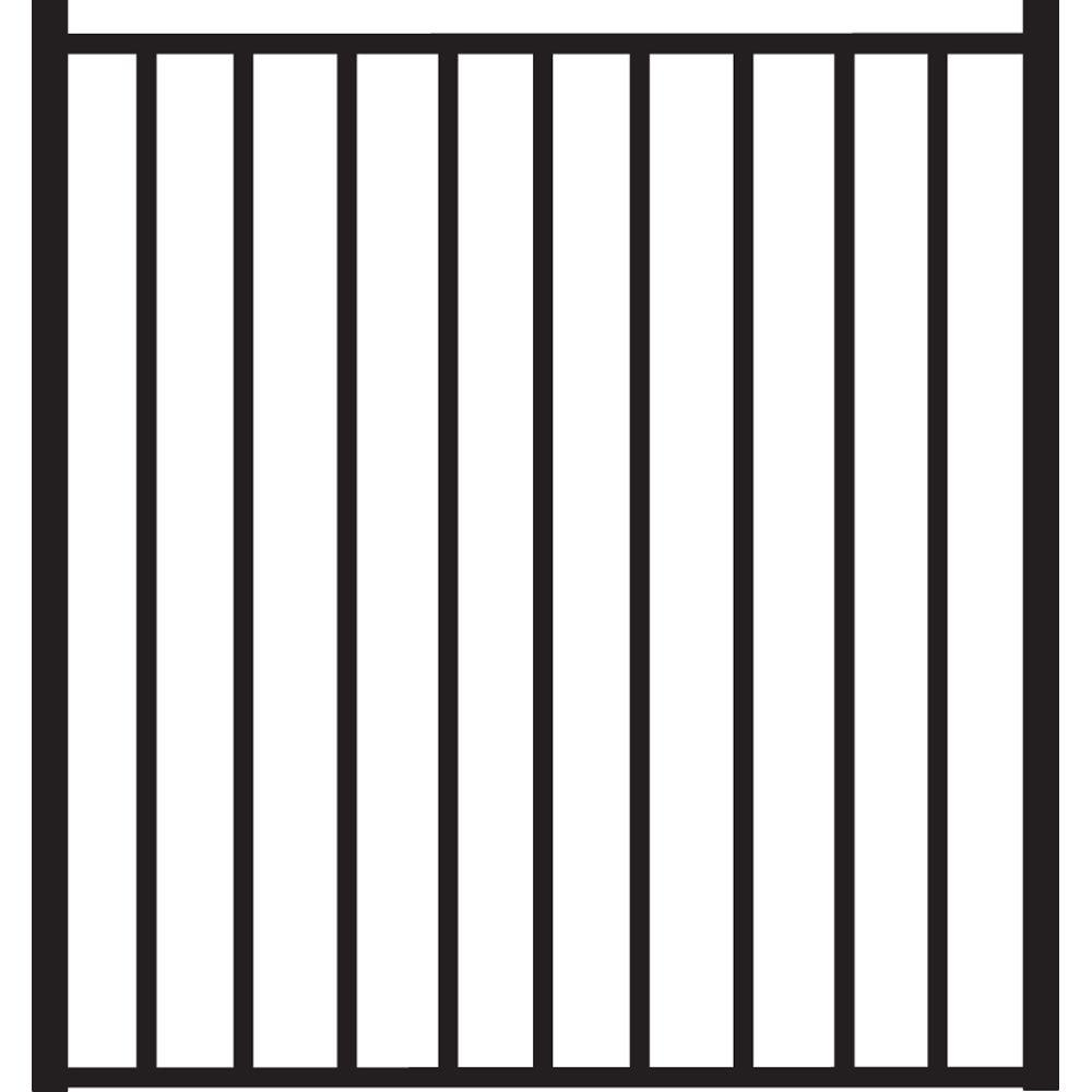 Beechmont Standard-Duty 4 ft. W x 4 ft. H Black Aluminum Straight Pre-Assembled Fence Gate
