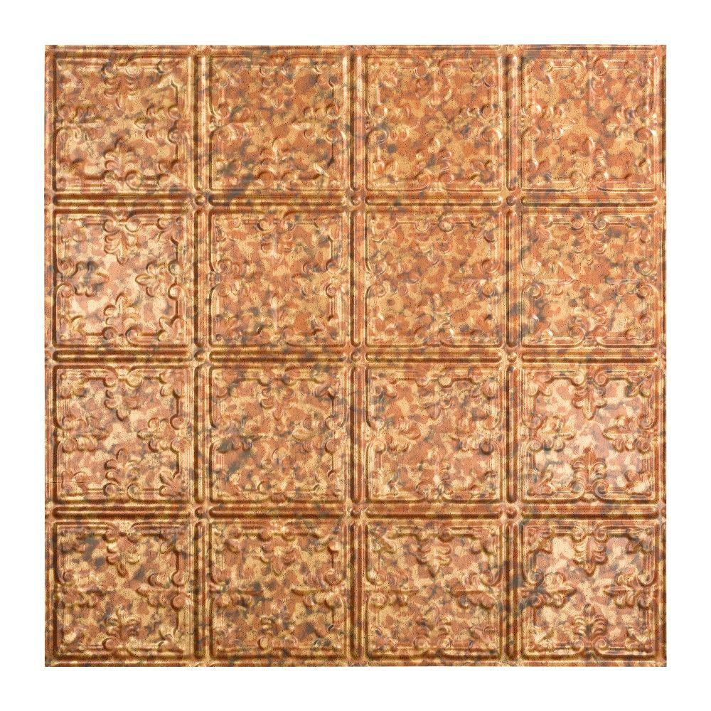 Fasade Traditional 10 - 2 ft. x 2 ft. Lay-in Ceiling Tile in Cracked Copper