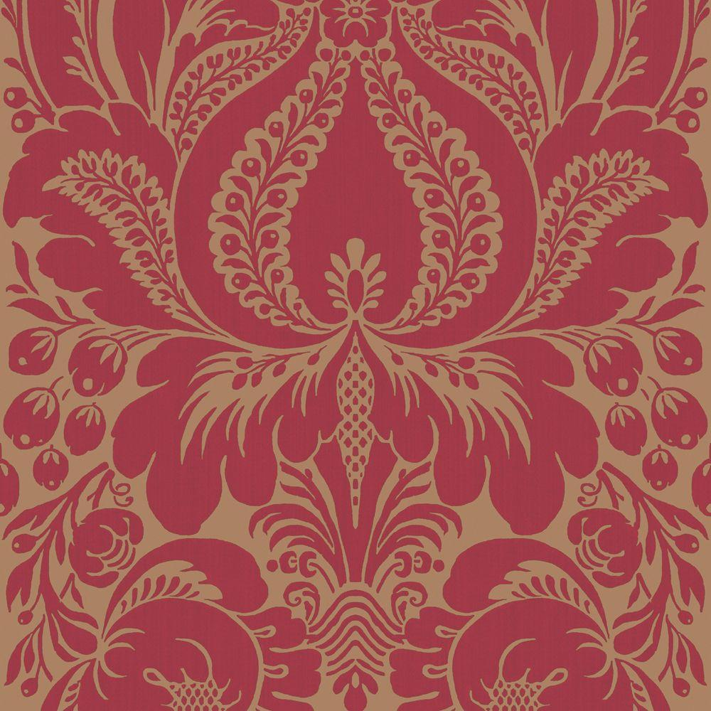 The Wallpaper Company 56 sq. ft. Red Large Scale Damask Wallpaper