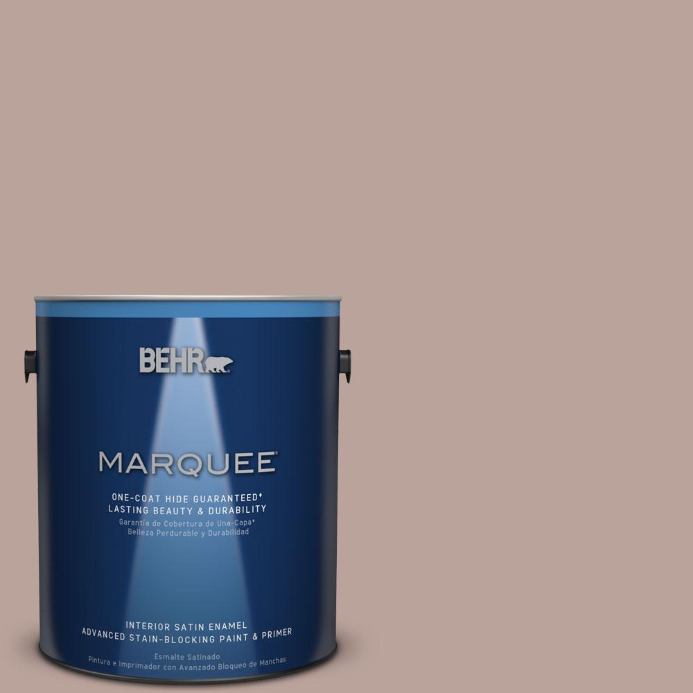 1 gal. #N150-3 Cocoa Craving One-Coat Hide Satin Enamel Interior Paint