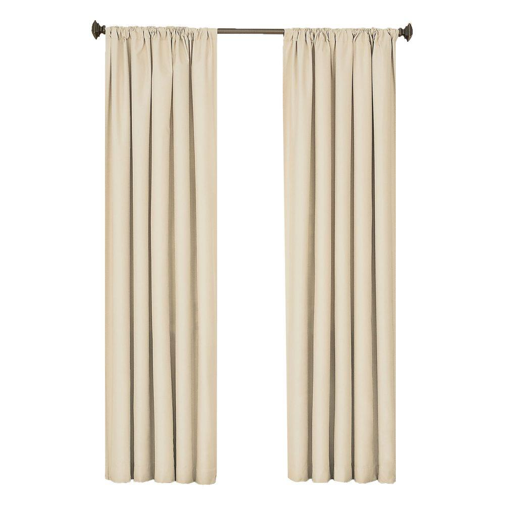 Eclipse Kendall Blackout Ivory Polyester Curtain Panel, 63 in. Length (Price Varies by Size)