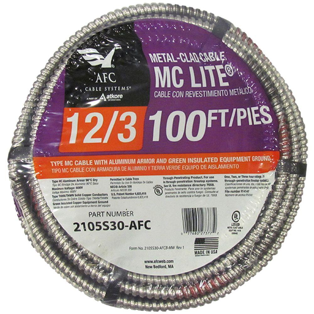 12/3 x 100 ft. Solid MC Lite Cable