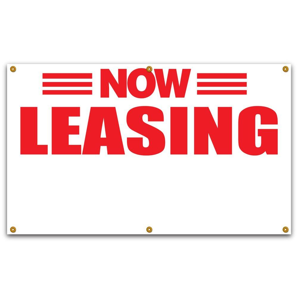 Lynch Sign 5 ft. x 3 ft. Red on White Vinyl Now Leasing Banner with Space for Phone Number