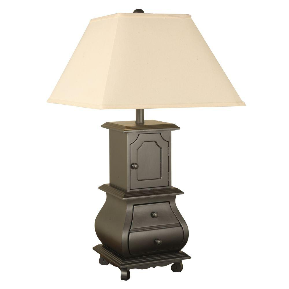 null 30.5 in. Black Bombe Chest Table Lamp with Shade