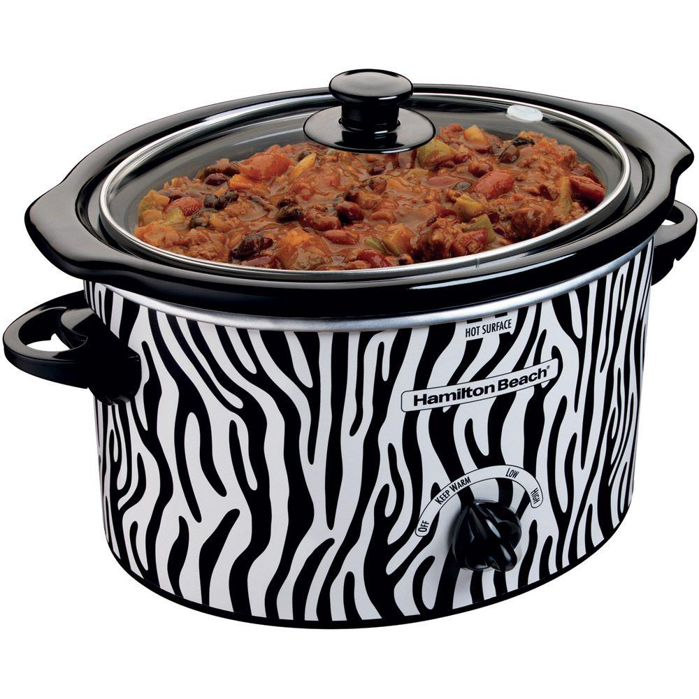 Hamilton Beach 3 qt. Slow Cooker with Zebra Pattern Design-DISCONTINUED
