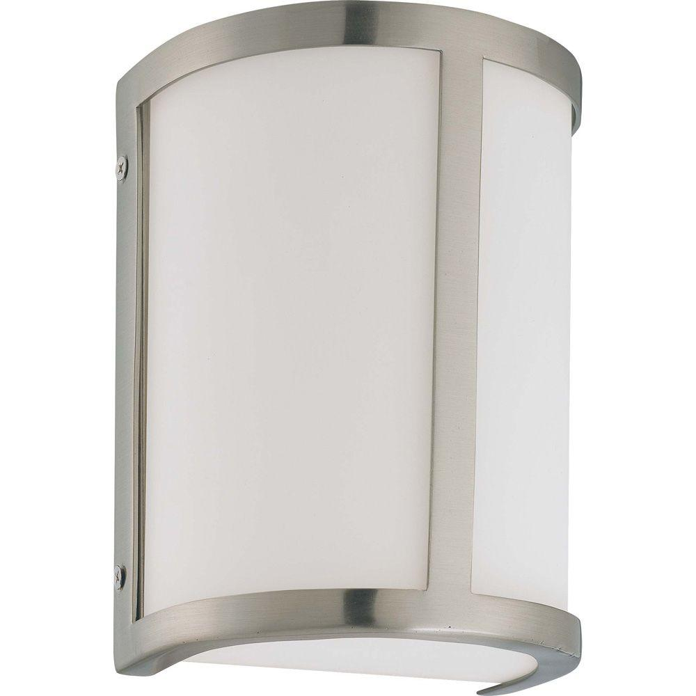 Lite Line Andra 1-Light Brushed Nickel Sconce with Satin White Glass