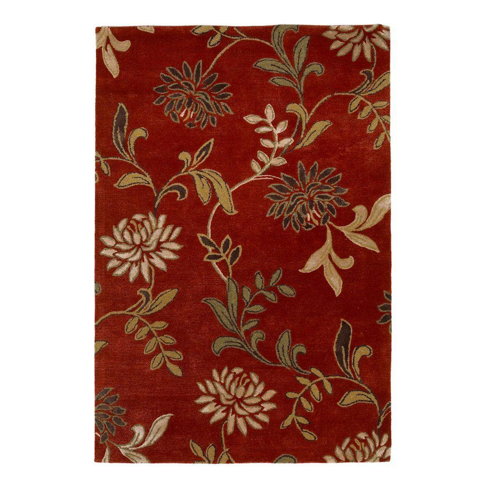 Kas Rugs Perfect Flowers Red 3 ft. 6 in. x 5